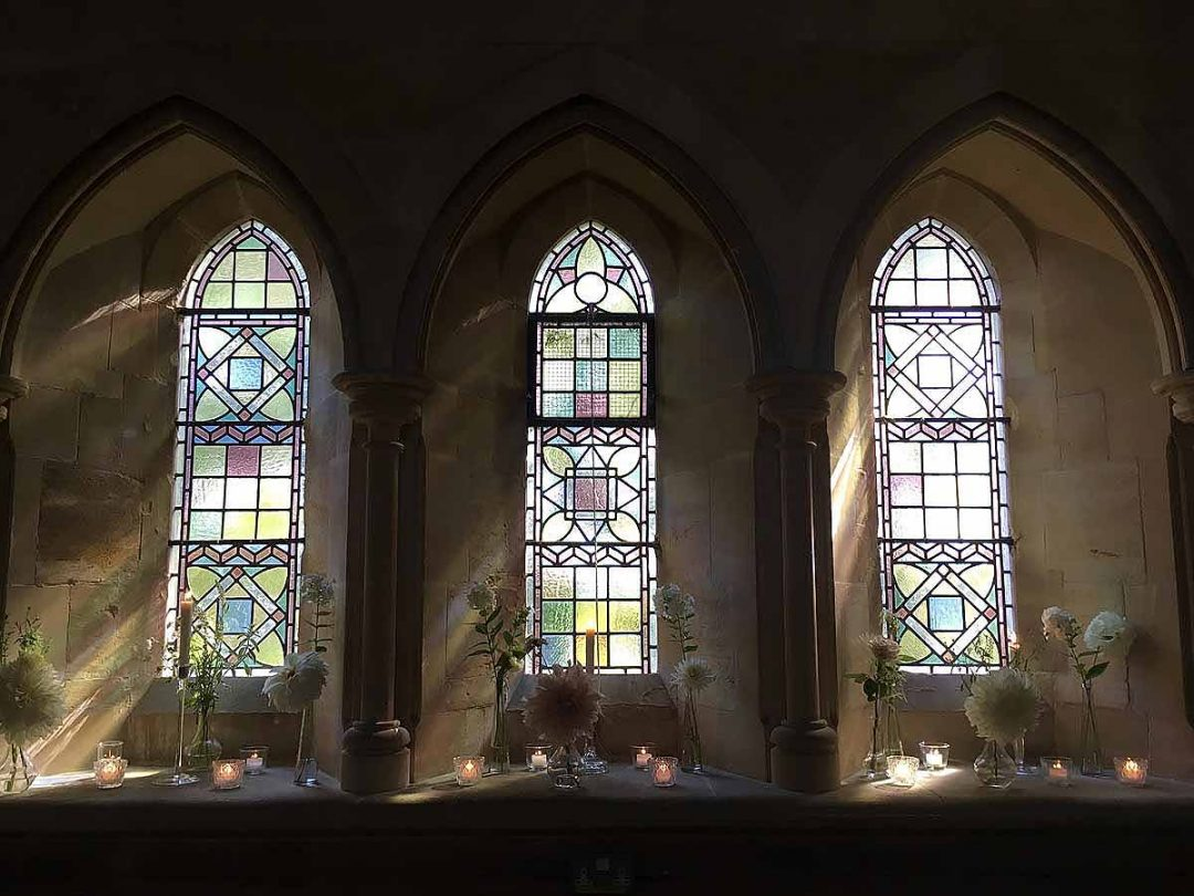 stained glass windows at Holy Trinity Church, Privett